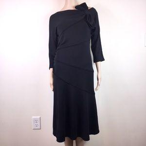 """Diane von Furstenberg Blk Wool """"Slater"""" Midi Dress"""